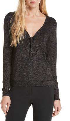 Milly Shimmer Twist Neck Sweater