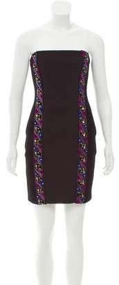 Emilio Pucci Embellished Strapless Wool Dress