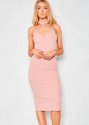 8e910ed6222a Missy Empire Missyempire Blaise Nude Harness Halterneck Bodycon Dress