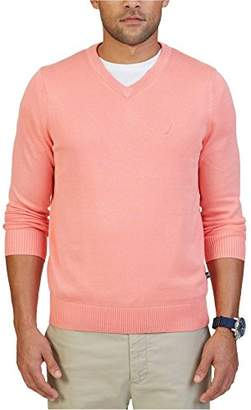 Nautica Men's Standard Long Sleeve Solid Classic V-Neck Sweater