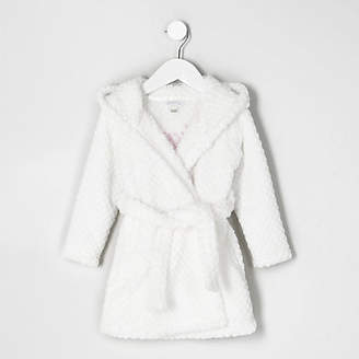 River Island Mini girls Cream quilted fluffy dressing gown