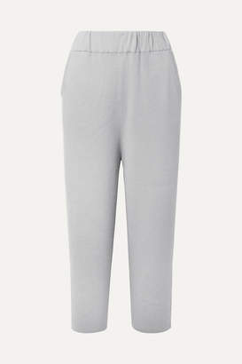 Sally LaPointe Cropped Ribbed Cashmere-blend Wide-leg Pants