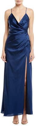 Fame & Partners The Zarita Sleeveless V-Neck Draped Matte Stretch Satin Gown Dress