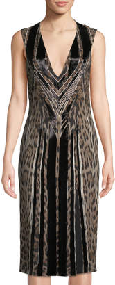 Roberto Cavalli Beaded Animal-Print Sheath Dress