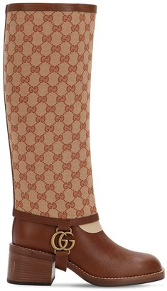 Gucci 50mm Lola Leather & Canvas Boots