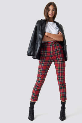 NA-KD Tartan Suit Pants Red Check