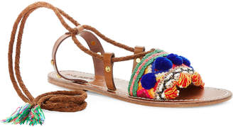 Dvlpmnt+ Baba Peruvian Ankle-Wrap Embroidered Sandals