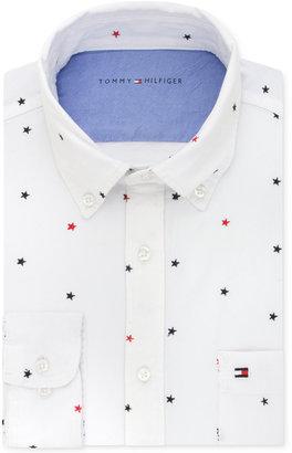 Tommy Hilfiger Men's Slim-Fit Comfort-Wash Star-Embroidered Untucked Dress Shirt $75 thestylecure.com
