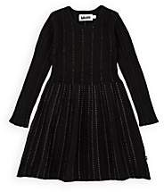 Molo Kids Kids' Cass Metallic Rib-Knit Sweaterdress - Black