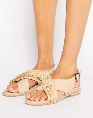 Sol Sana Marla Cross Strap Leather Flat Sandals