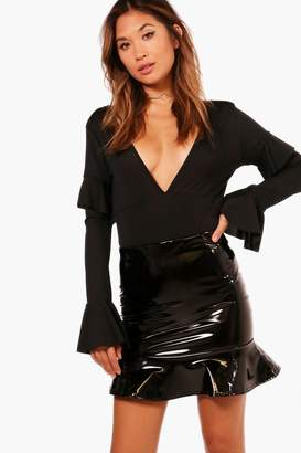boohoo Leila Drop Peplum Vinyl Mini Skirt