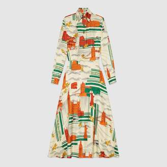Gucci Illustrated Cities silk dress