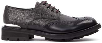 Alexander McQueen Black Grained Leather Derby Shoes
