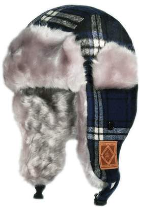 Hunter City Kw120 Premium Wool Plaid Kids Trapper Bomber Hat - Navy