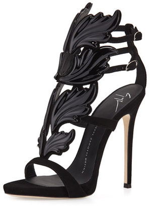 Giuseppe Zanotti Coline Wings Suede 110mm Sandal $1,595 thestylecure.com