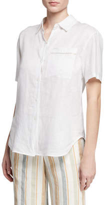 cee00288132 Lafayette 148 New York Sublime Justice Button-Front Short-Sleeve Linen  Blouse