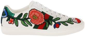 Gucci Sneakers New Ace Sneakers In Soft Genuine Leather With Web Bands And Floral Patches
