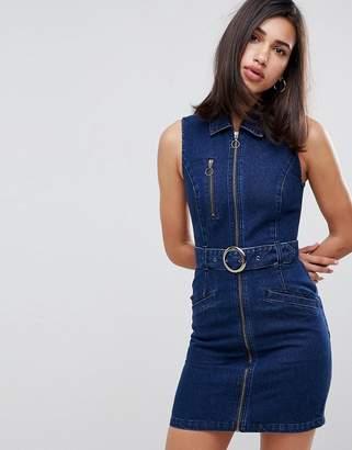 Asos DESIGN denim sleeveless dress in indigo with belt