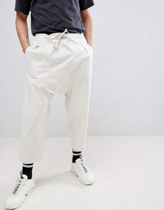 Asos Design DESIGN Drop Crotch Pants In Birch With Tie Waist
