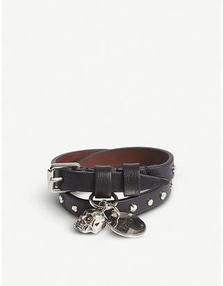 Alexander McQueen Skull studded leather double-wrap bracelet