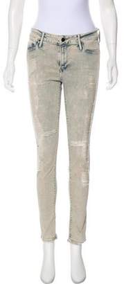 Black Orchid Distressed Mid-Rise Skinny Jeans