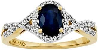 1.00 ct Oval Sapphire & 1/6 cttw Diamond Ring, 14K Gold