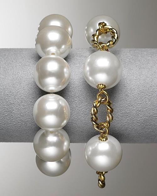 Kenneth Jay Lane Women's Faux Pearl/Goldtone Large Pearl Stretch Bracelet
