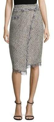 Milly Tweed Fringe Midi Skirt