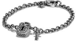 David Yurman Cable Collectibles Lock & Key Charm Bracelet with Diamonds