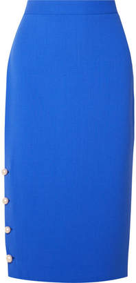 Lela Rose Faux Pearl-embellished Wool-blend Crepe Pencil Skirt - Blue