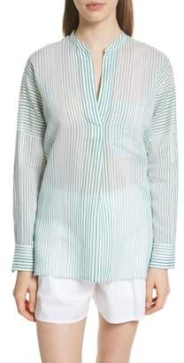 Vince Pencil Stripe Cotton & Silk Tunic