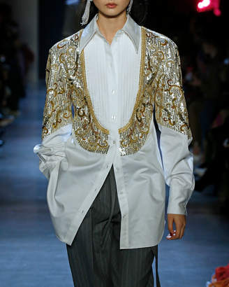 Prabal Gurung Sitapur Long-Sleeve Blouse w/ Sequined Embroidery