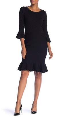 Sandra Darren 3/4 Bell Sleeve Knit Dress