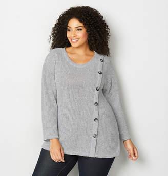 Avenue Asymmetric Button Knit Sweater