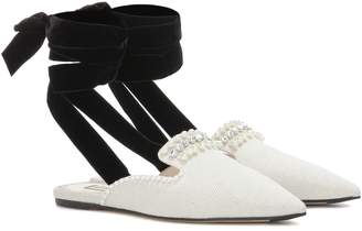 ATTICO The Elena embellished canvas mules