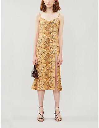 Reformation Crimini snakeprint sleeveless crepe dress