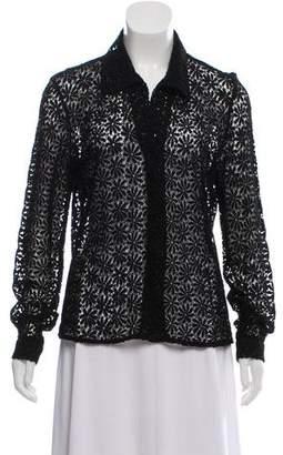 Calvin Klein Collection Lace Button-Up Top