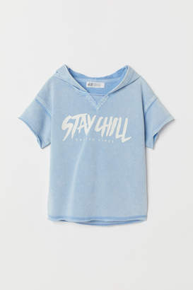 H&M Short-sleeved Hooded Shirt - Blue