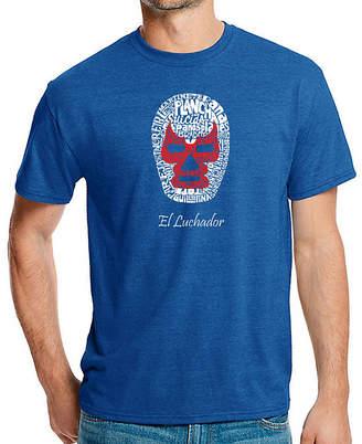LOS ANGELES POP ART Los Angeles Pop Art Men's Big & Tall Premium BlendWord Art T-shirt - MEXICAN WRESTLING MASK