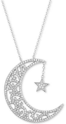 """Tiara Cubic Zirconia Moon & Star 18"""" Pendant Necklace in Sterling Silver"""