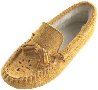 Bastien Industries Women's Fleece Lined Genuine Suede Beaded Moccasin Slippers