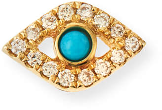 Sydney Evan Small Turquoise Cabochon & Diamond Evil Eye Single Earring