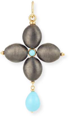 Silver Cross Grazia And Marica Vozza Black Charm with Turquoise
