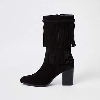 River Island Black suede fringe block heel boots