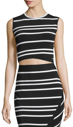 Ted Baker London Onissa Sleeveless Bias-Striped Crop Top, Black $165 thestylecure.com