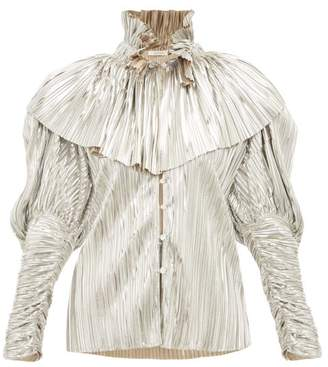 Rodarte Crystal Button Pleated Metallic Blouse - Womens - Silver