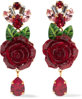 Dolce & Gabbana Gold-plated Resin And Crystal Clip Earrings - Red