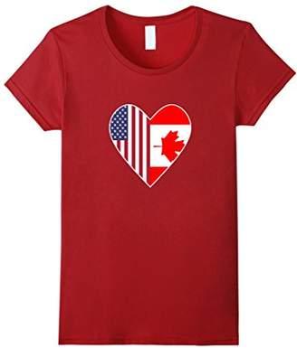 Half Canada Flag Half American Flag Love Heart T-Shirt