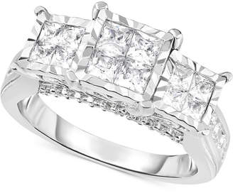 Trumiracle Diamond Princess Triple Cluster Engagement Ring (1 ct. t.w.) in 14k White Gold