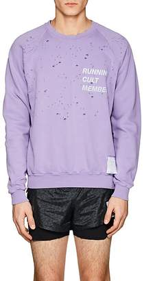 "Satisfy Men's ""Running Cult Member"" Distressed Cotton Sweatshirt"